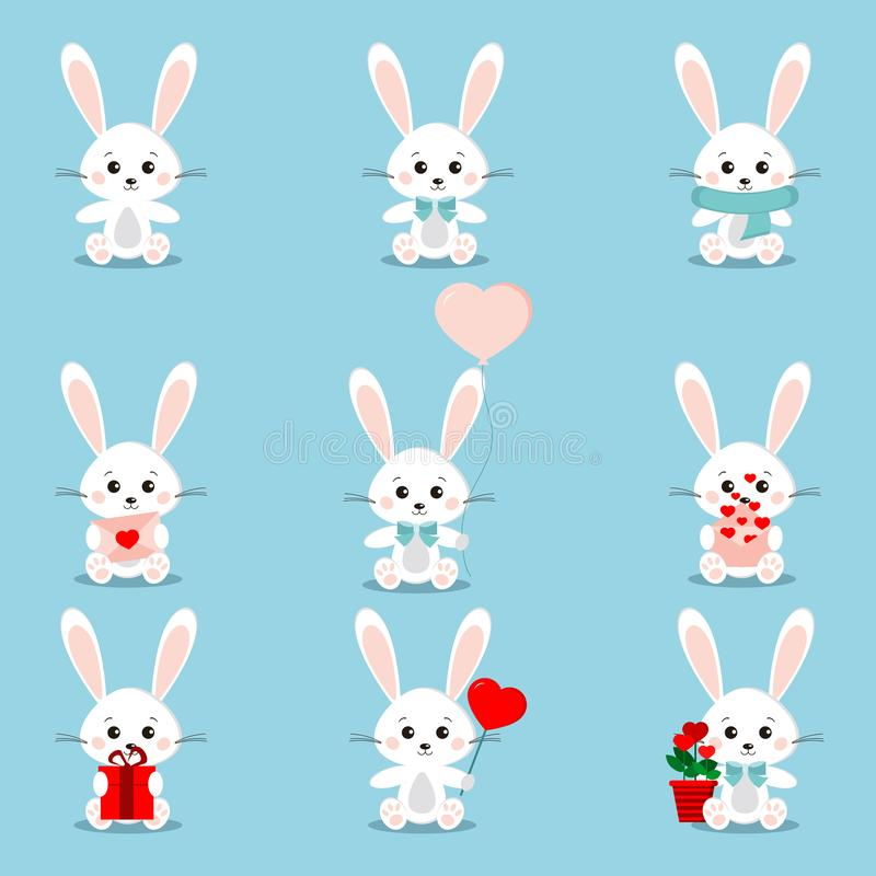 Установите милых белых кроликов в сидя представлении с различными вещами в своих лапках иллюстрация вектора