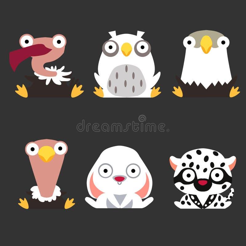 Установите милых логотипов животного и птицы Хищник, сыч, орел, страус, зайцы и белый леопард сидят на темной предпосылке иллюстрация штока