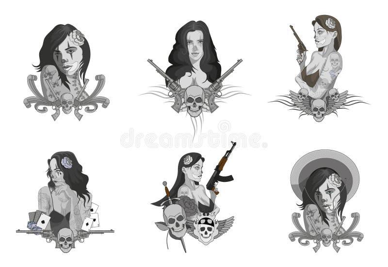 Установите милых мексиканско-американских девушек r Мексиканско-американские девушки татуировки Девушка гангстера Мексиканско-аме иллюстрация вектора