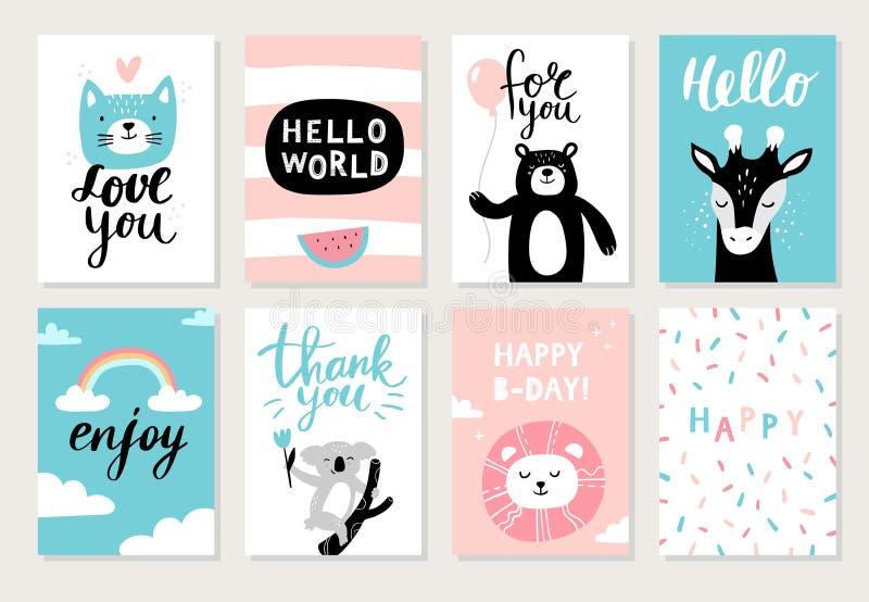 Установите милых нарисованных вручную животных на открытках: кот, медведь, жираф, коала, лев и различный элемент иллюстрация штока