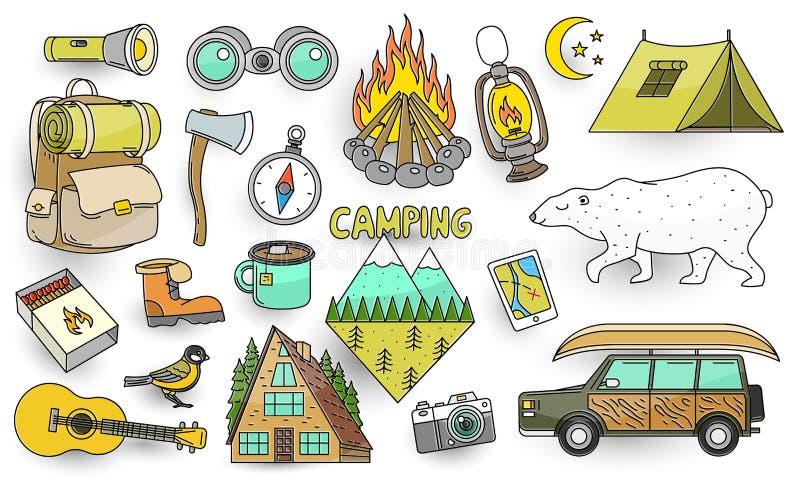 Установите милых располагаясь лагерем элементов Стикеры, штыри doodle, заплаты Оборудование в горе леса, огне, карте, компасе, ме иллюстрация вектора