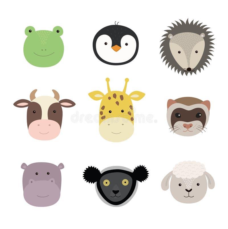 Установите милых смешных животных лягушки, овцы, коровы, жирафа, ласки, гиппопотама, ежа, пингвина, indri Изолированные объекты н иллюстрация вектора