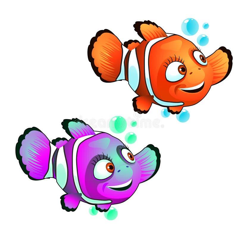 Установите милых усмехаясь рыб клоуна изолированных на белой предпосылке Иллюстрация конца-вверх мультфильма вектора иллюстрация вектора