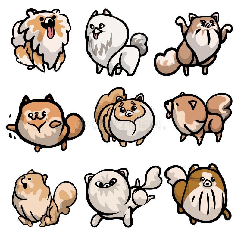 Установите милых характеров собаки шпица в различных действиях иллюстрация вектора