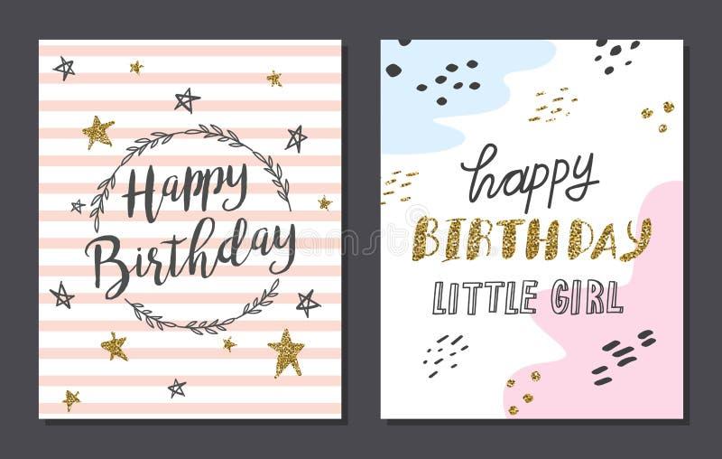 Установите милых шаблонов поздравительой открытки ко дню рождения бесплатная иллюстрация