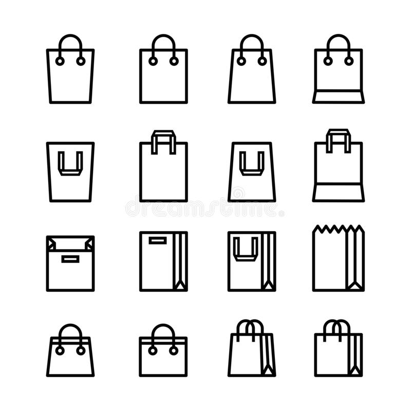 Установите минимальной линии цвета значков черного и плоского стиля хозяйственной сумки изолированных на белой предпосылке иллюстрация вектора