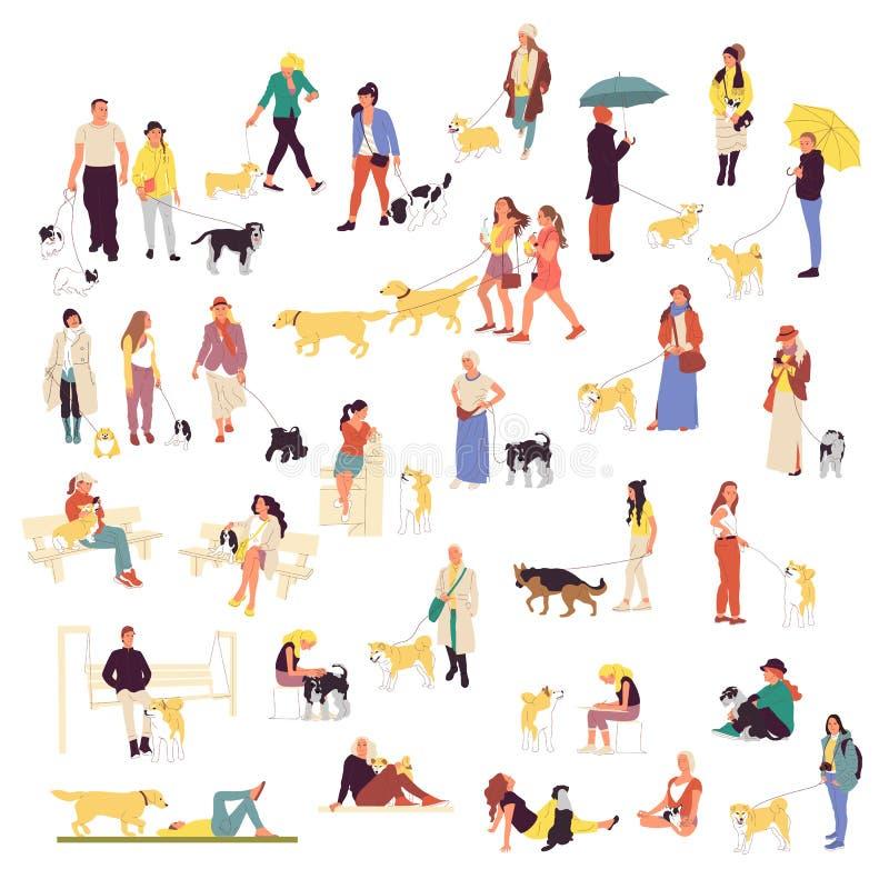 Установите много людей идя с собаками Люди и женщины outdoors с любимцами иллюстрация вектора