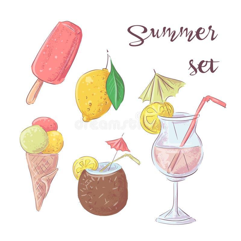 Установите мороженого коктейля и тропических плодов иллюстрация штока