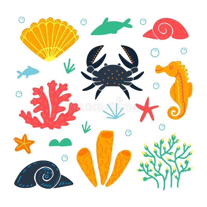 Установите морских животных и элементов Подводная жизнь иллюстрация штока