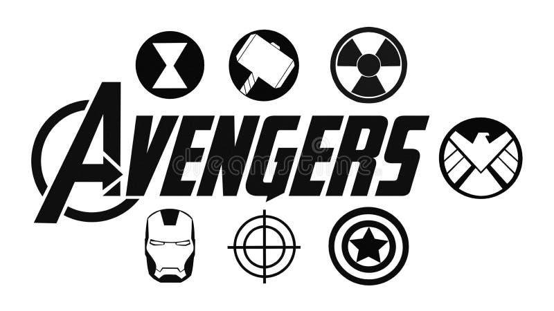 Установите мстителей логотипа и значков супергероев Студии чуда иллюстрация вектора