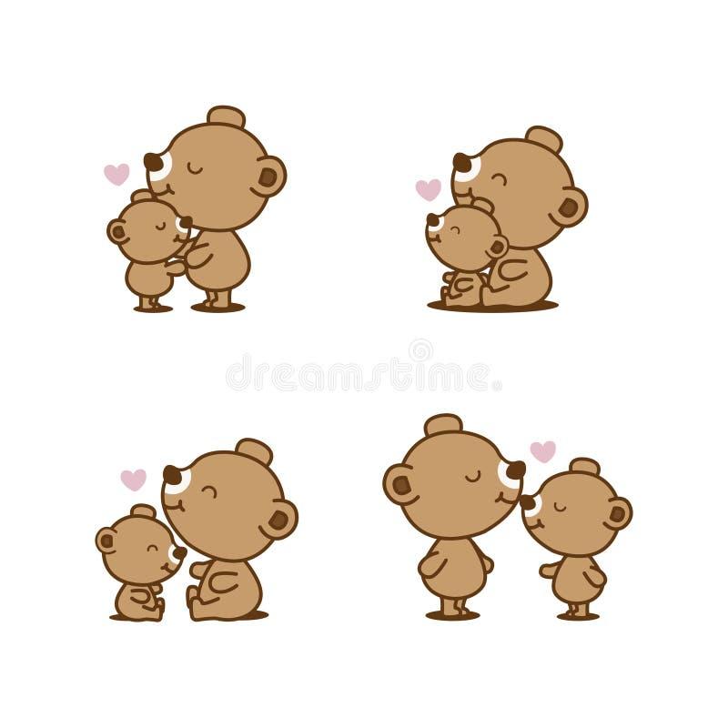 Установите мультфильма медведя и младенца иллюстрация штока