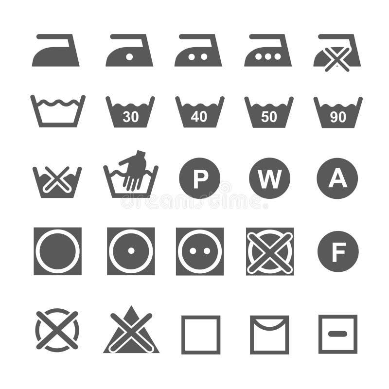 установите мыть символов Значки прачечной изолированные дальше иллюстрация вектора