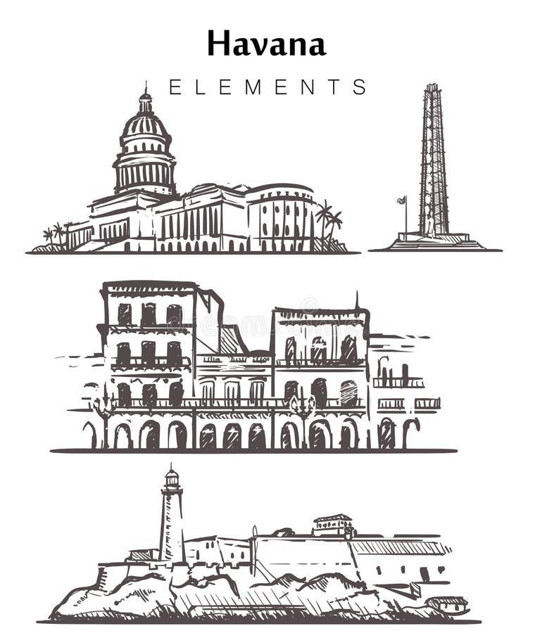 Установите нарисованных вручную зданий Гаваны Иллюстрация вектора эскиза элементов Гаваны иллюстрация штока