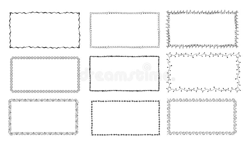 Установите нарисованных вручную рамок doodle Границы эскиза иллюстрация вектора