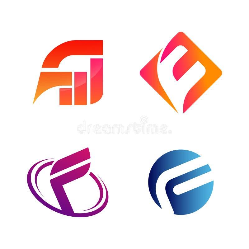 Установите начального письма FW и символа f для шаблона дизайна логотипа дела Собрание значков конспектов современных для организ иллюстрация вектора