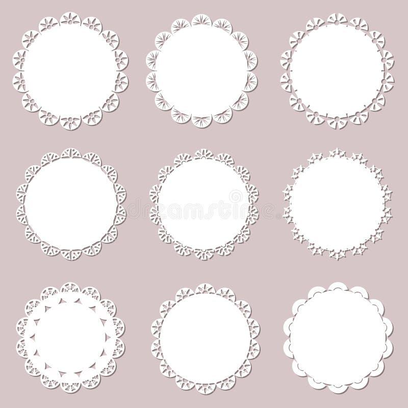 Установите на винтажные doilies на предпосылке бумаги ремесла Зашнуруйте бумажный вырез для салфеток, отрезок лазера также вектор иллюстрация вектора