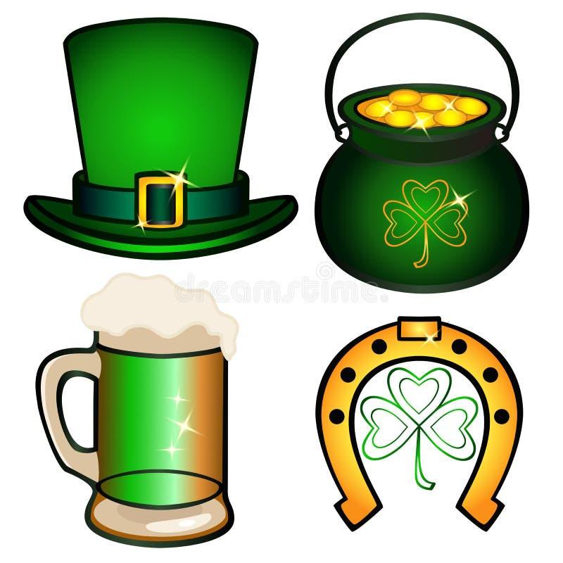Установите на день ` s St. Patrick иллюстрация вектора