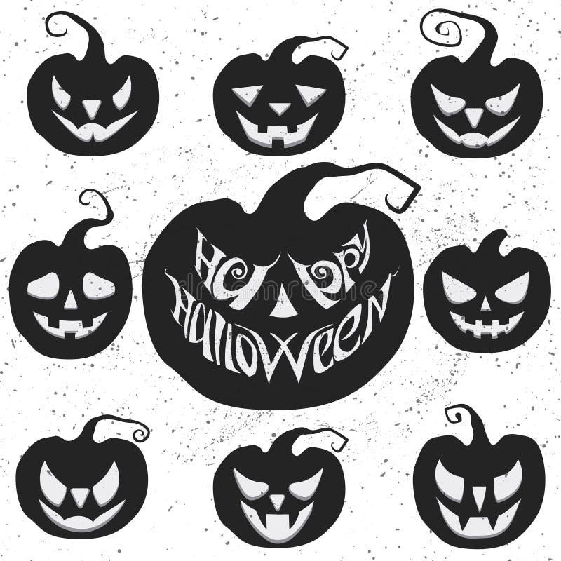 Установите на хеллоуин с высекать тыквы Счастливая литерность вектора хеллоуина иллюстрация штока