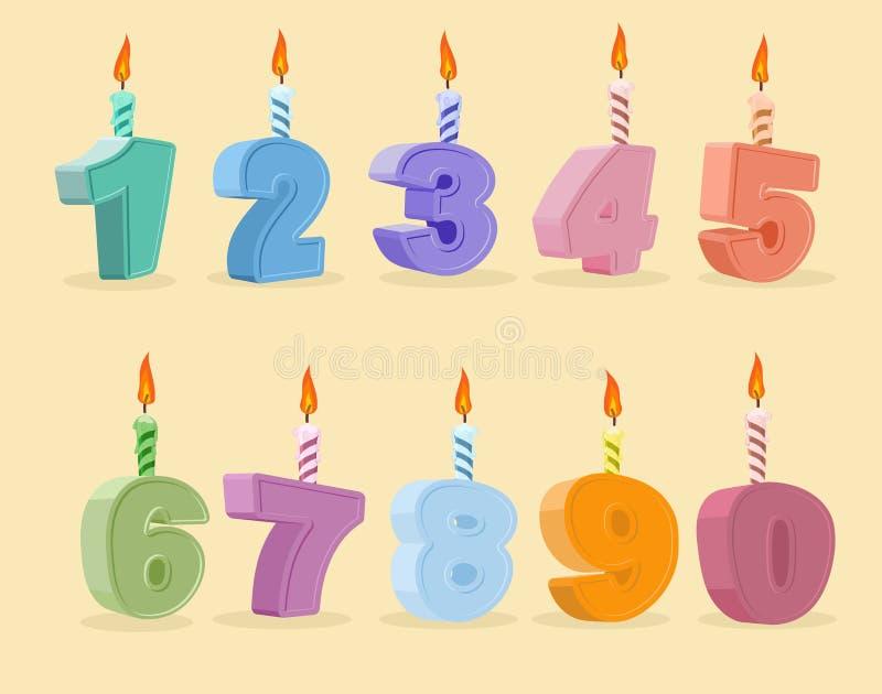 Установите номера шаржа свечей дня рождения также вектор иллюстрации притяжки corel бесплатная иллюстрация