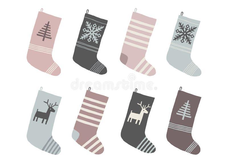 Установите носков красного и белого рождества Иллюстрация eps 10 вектора Нового Года мультфильма изолировала на белой предпосылке бесплатная иллюстрация
