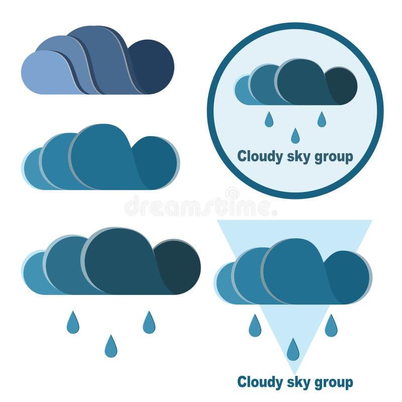 Установите облаков и падений для вашего собственного логотипа иллюстрация вектора