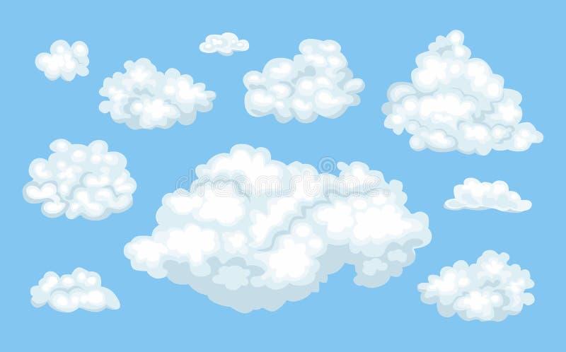 Установите облаков мультфильма вектора на голубой предпосылке бесплатная иллюстрация
