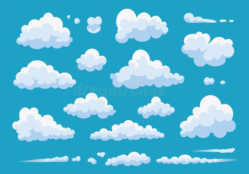 Установите облаков мультфильма изолированных на голубой предпосылке Иллюстрация облака собрания вектора белая Голубое облачное не иллюстрация штока