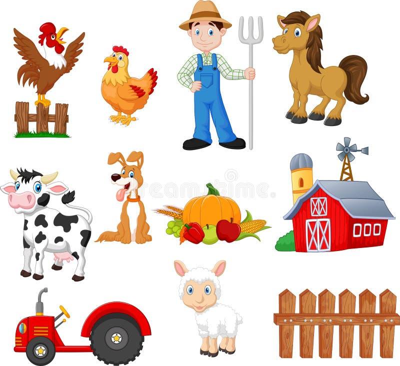 Установите обрабатывать землю мультфильм с фермером, трактором, амбаром, животными, фруктами и овощами иллюстрация вектора