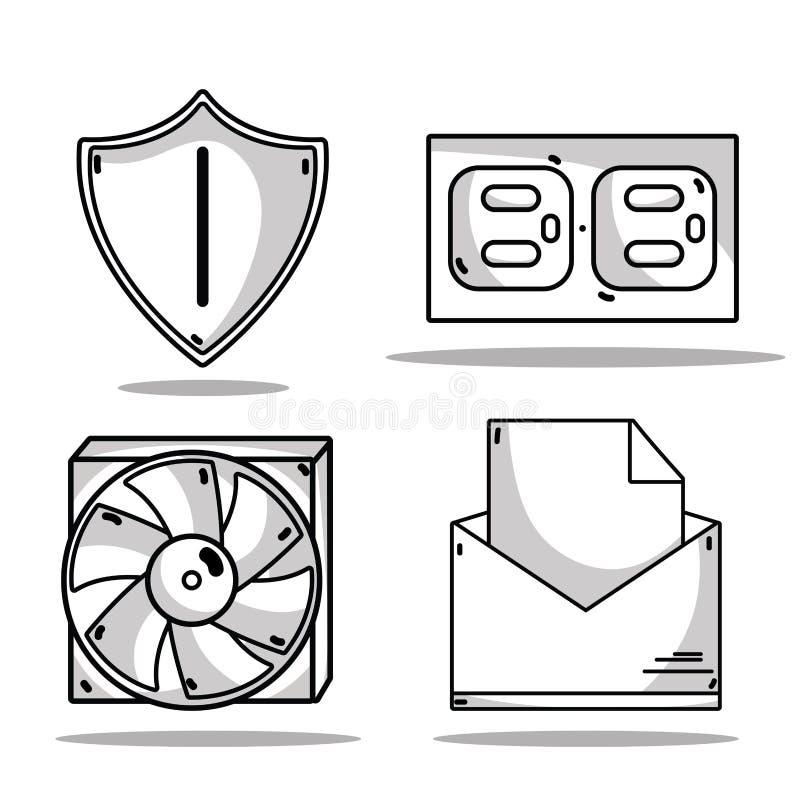 Установите обслуживание центра данных технологии иллюстрация штока