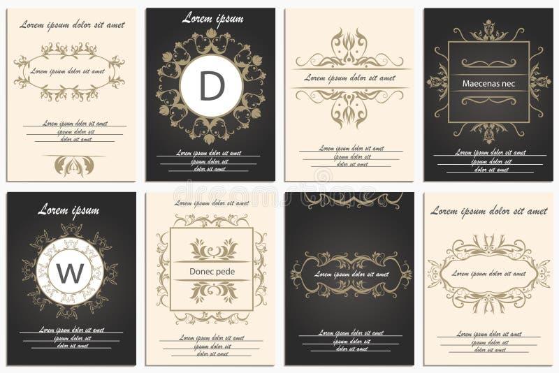 Установите логотипы ornamental карточек бесплатная иллюстрация