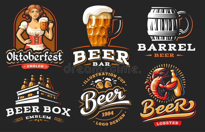 Установите логотип пива - vector иллюстрация, дизайн винзавода эмблемы иллюстрация штока