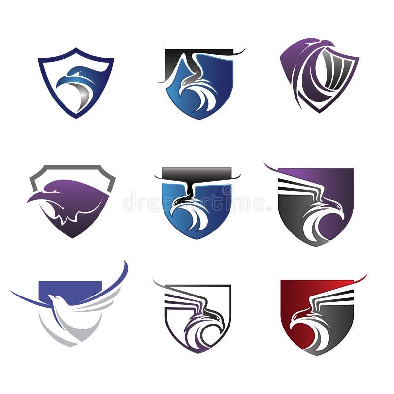 Установите орла логотипа иллюстрация вектора