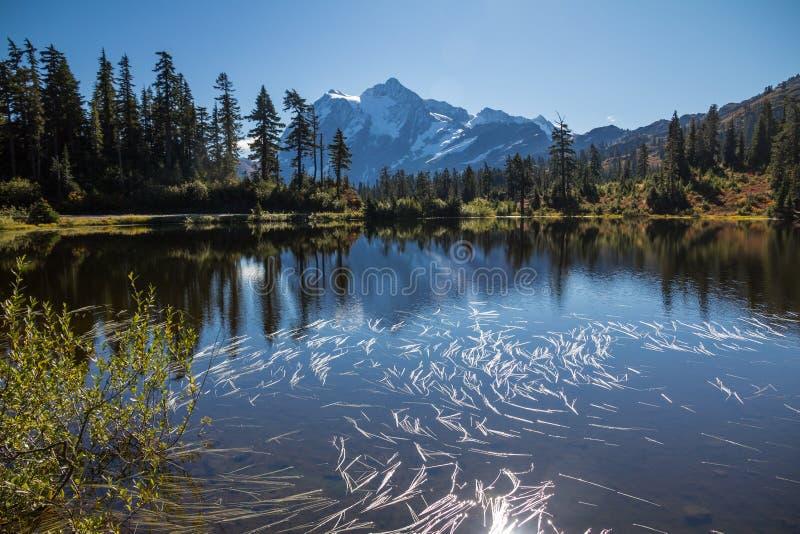 Установите отражения в озере изображени - горизонтальное изображение Shuksan стоковое фото rf