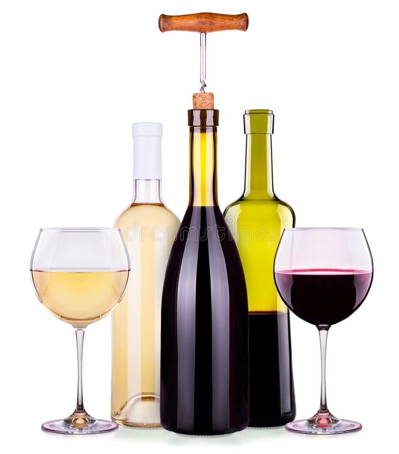 Установите от красных и белых бокалов, бутылок стоковые фотографии rf