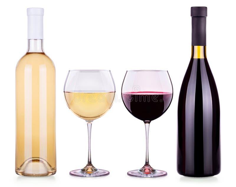 Установите от красных и белых бокалов, бутылок стоковое изображение rf