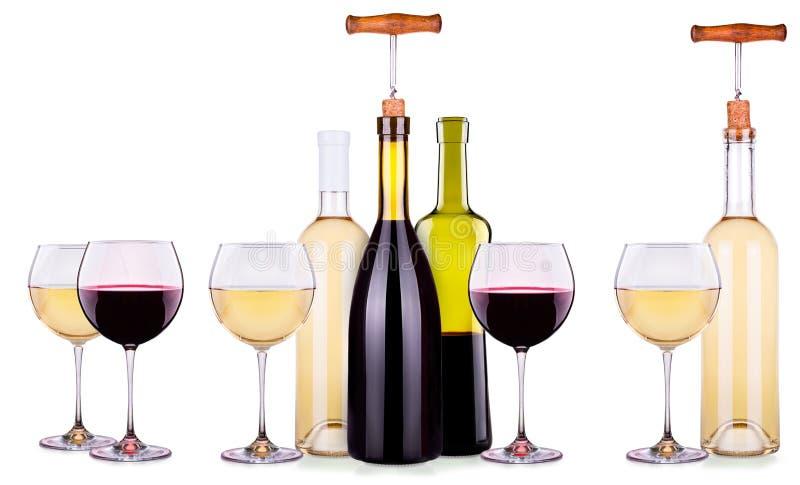 Установите от красных и белых бокалов, бутылок стоковая фотография rf
