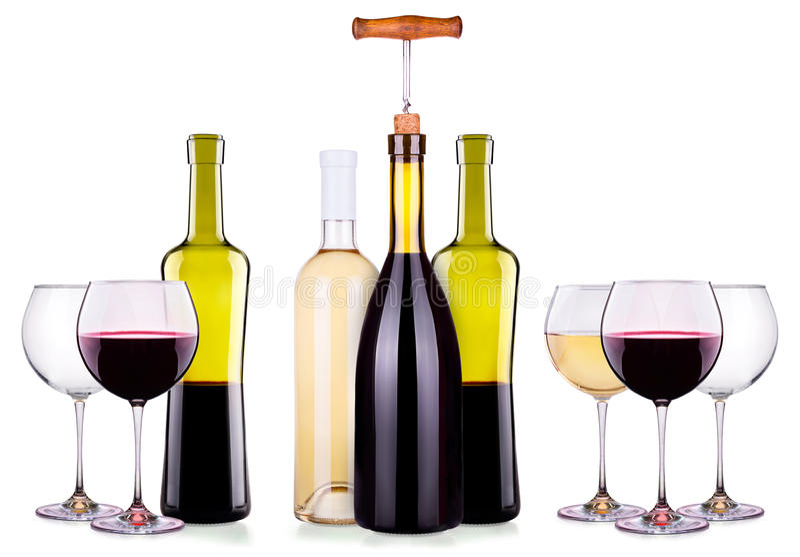 Установите от красных и белых бокалов, бутылок стоковое изображение