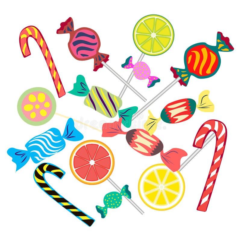 Установите от различных ярких конфет бесплатная иллюстрация