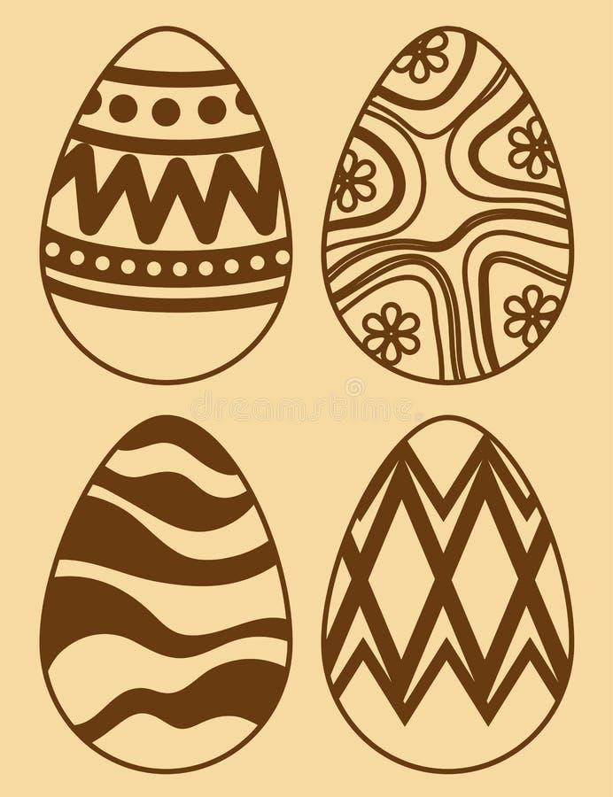 Установите пасхальные яйца с диаграммами украшением на событие иллюстрация штока