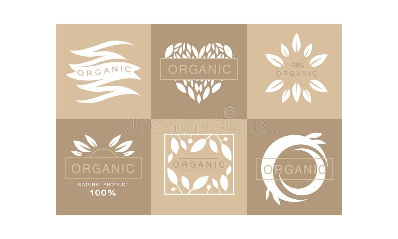 Установите 6 первоначальных monochrome эмблем с листьями и текстом органический продукт 100 Здоровый уклад жизни творческий логос иллюстрация штока