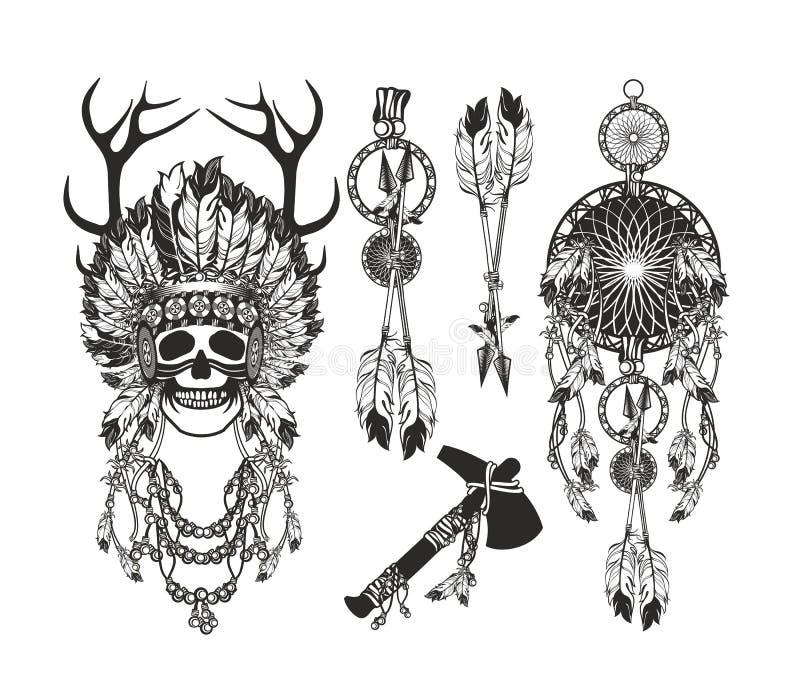 Установите пер шамана иллюстрация вектора