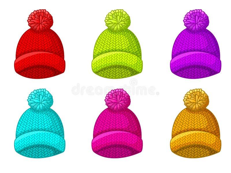 Установите пестротканой шляпы зимы с pompom иллюстрация штока