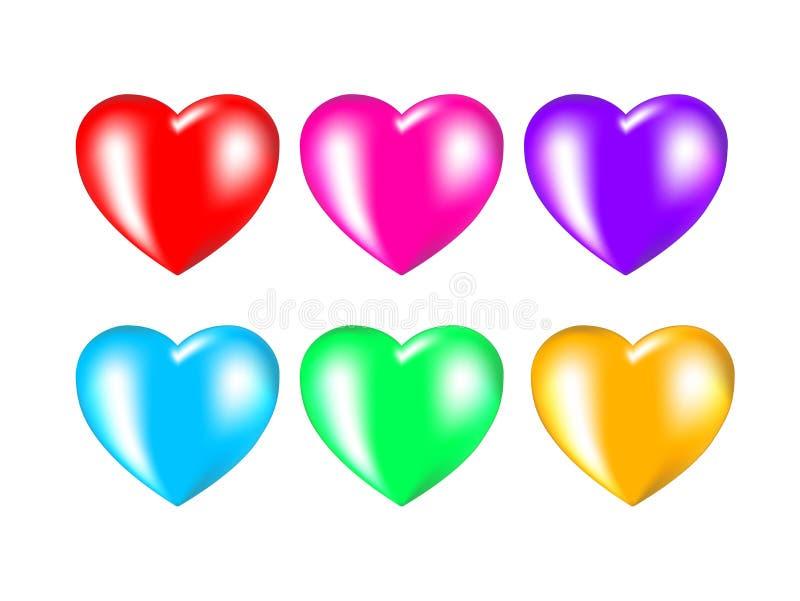 Установите пестротканых сердец на белой предпосылке иллюстрация вектора