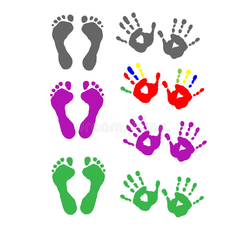 Установите печати ноги и печати ладони иллюстрация вектора
