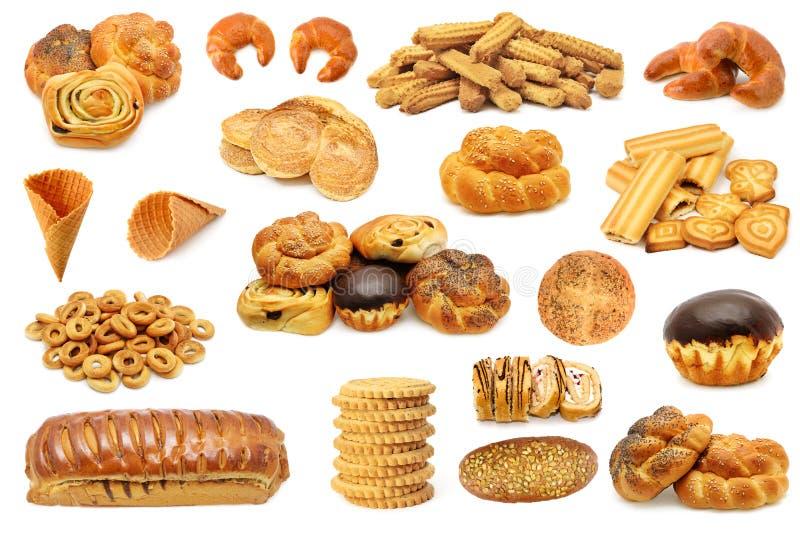 Установите печенья продуктов хлеба, печенья, пирожное, крен изолированный o стоковое фото