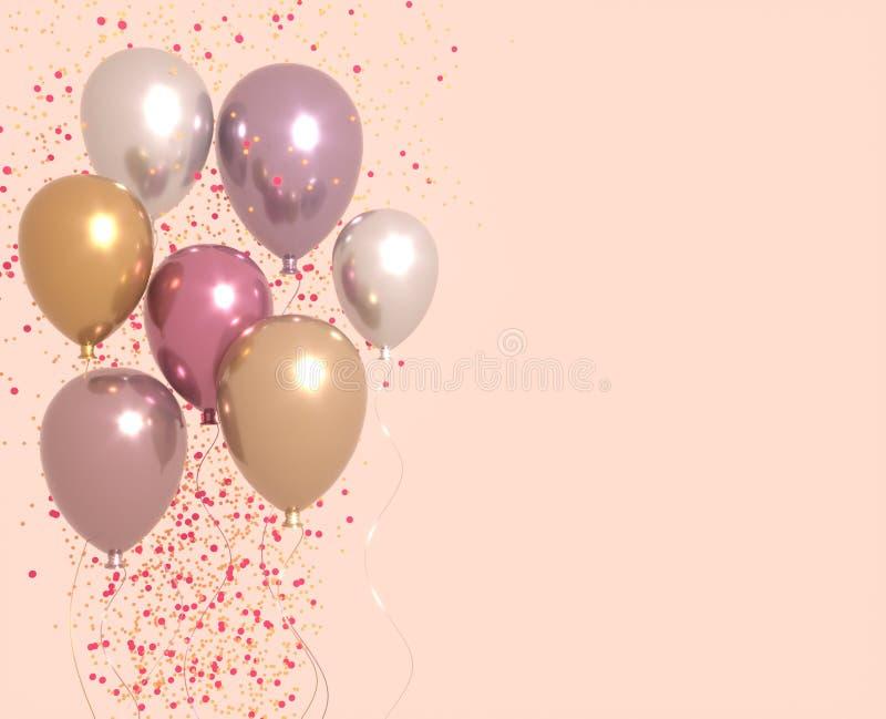 Установите пинка и золотые лоснистые воздушные шары со сверкнают, предпосылка партии 3D представляют для дня рождения, партии, св иллюстрация штока