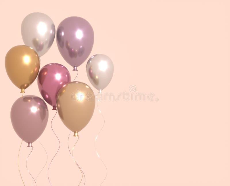 Установите пинка и золотых лоснистых воздушных шаров, предпосылки партии 3D представляют для знамен дня рождения, партии, свадьбы иллюстрация вектора