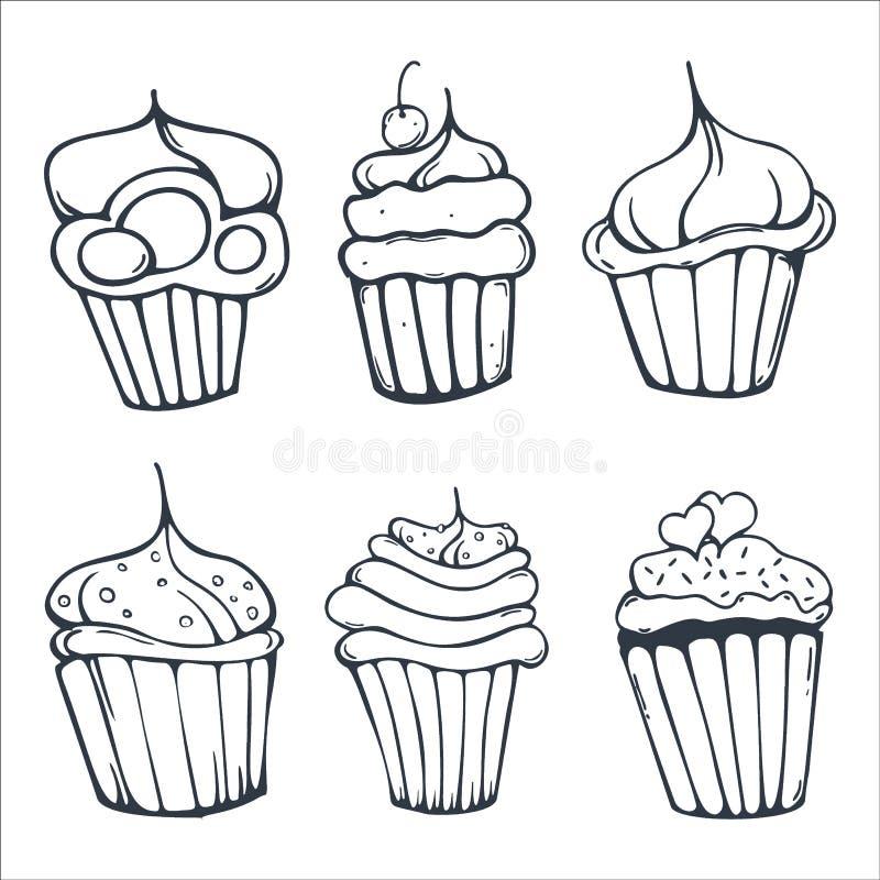 Установите пирожных или тортов эскизов для пекарни и печенья иллюстрация вектора