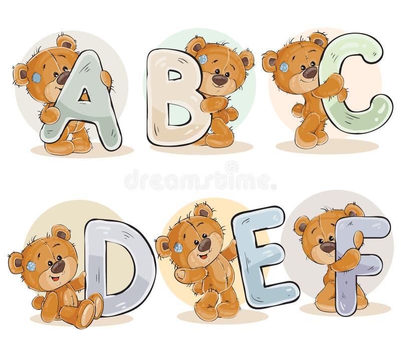 Установите письма вектора английского алфавита с смешным плюшевым медвежонком бесплатная иллюстрация