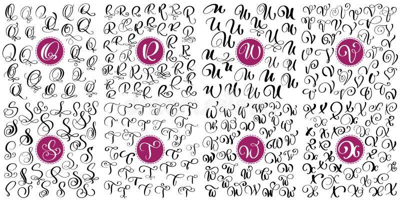 Установите письмо q, r, s, t, u, v, w, каллиграфию эффектной демонстрации вектора x нарисованную рукой Шрифт сценария Изолированн иллюстрация вектора